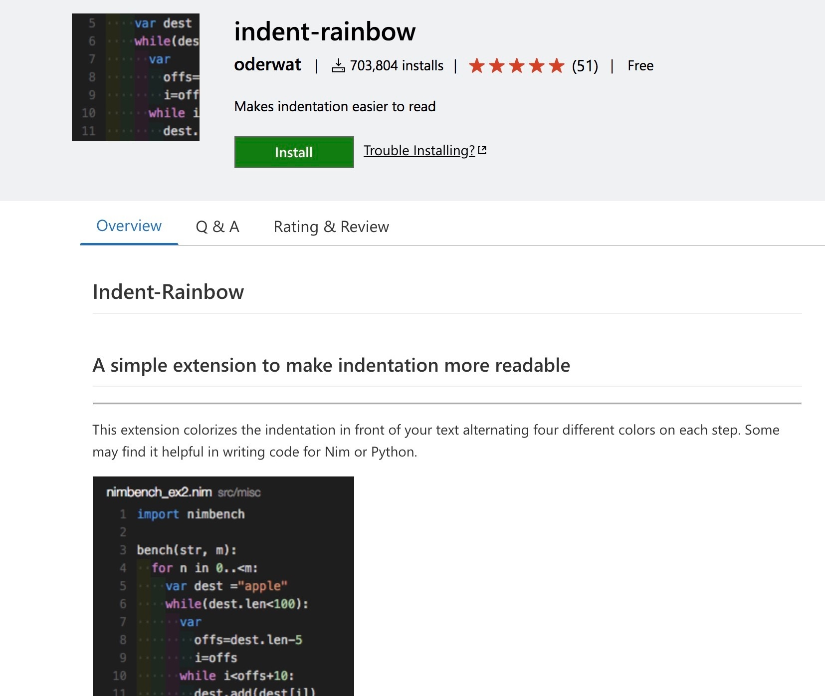 Plugins: Indent Rainbow